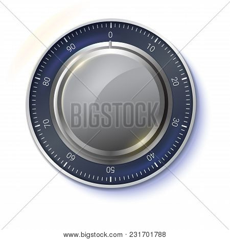Safe Lock Isolated On Transparent Background, Front View. Realistic Metallic Combination Lock For Sa
