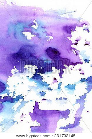 Colorful Ink Spots, Watercolor Paint Splatter, Grunge Abstract Painting Background. Art Colorful Dar
