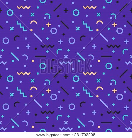 Abstract, Seamless, Geometric Pattern, Memphis Style. Retro Hipsters Design In 80s Or 90s Style. Rea