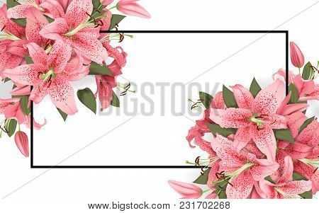 Wedding Invitation With Lily Flowers. Vector Illustration.