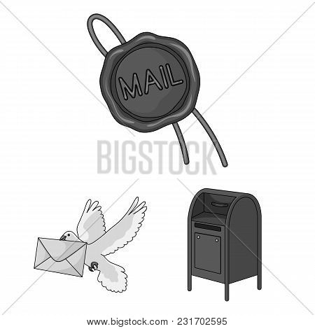 Mail And Postman Monochrome Icons In Set Collection For Design. Mail And Equipment Vector Symbol Sto