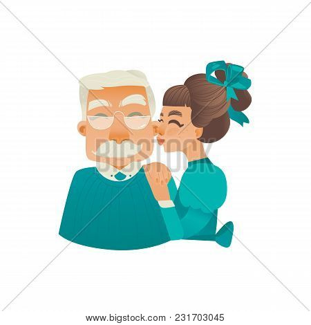Cartoon Adult Daughter Kissing Elderly Grandfather In Cheek. Happy Family People, Young Woman And El