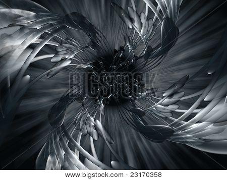 Dark, abstract metallic illustration or artistic design.