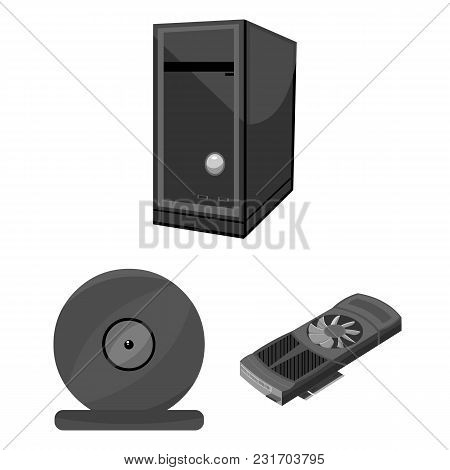 Personal Computer Monochrome Icons In Set Collection For Design. Equipment And Accessories Vector Sy