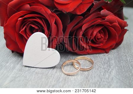 A Loveletter From Your Valentine, Red Roses And The Wedding Ring As An External Sign Of Inner Connec