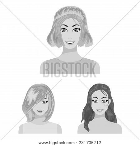 Types Of Female Hairstyles Monochrome Icons In Set Collection For Design. Appearance Of A Woman Vect