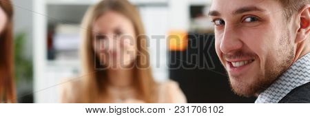 Handsome Smiling Businessman In Suit Portrait At Workplace Look In Camera. White Collar Worker At Wo