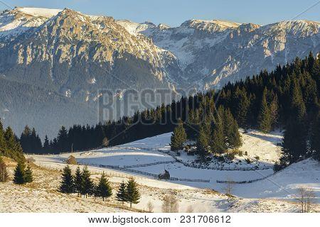 Winter Alpine Scenery In The Valley Of Bucegi Mountains, Fundata Village, Brasov County, Romania.