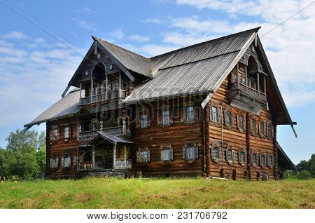 Traditional Russian Rural Wooden House In Kareliya, Russia