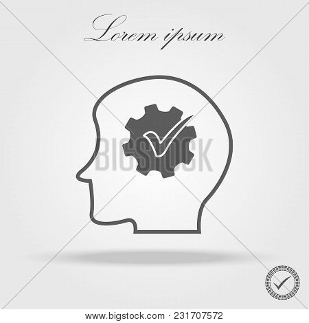Human Head Silhouette And Checkmark Icon. Abstract Concept. Flat Design Vector Illustration Isolated