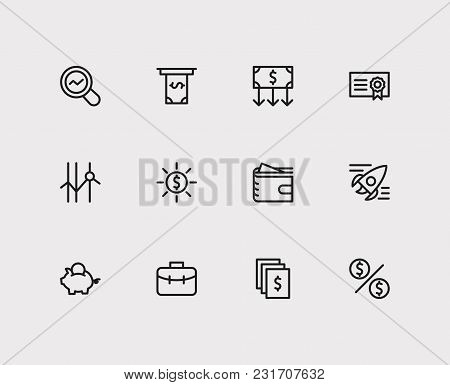 Investment Icons Set. Investor Portfolio And Investment Icons With Money Transfer, Cash Out And Mark