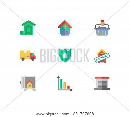 Real Estate Icons Set. Insurance And Real Estate Icons With Garage, Progress Down And Tenant. Set Of