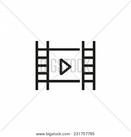 Film Strip With Play Sign Line Icon. Player, Multimedia, Filmstrip. Video Content Concept. Can Be Us