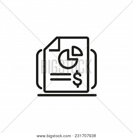 Financial Report Line Icon. Diagram, Dollar Sign, Analytics. Marketing Concept. Can Be Used For Topi