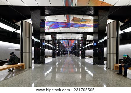 Moscow, Russia - March 17. 2018. Interior Of A Metro Station Cska.