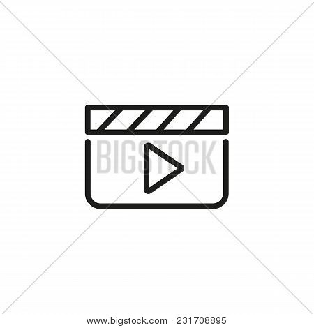 Icon Of Media Player. Clapper, Player, Action, Film Production. Video Editing Concept. Can Be Used F