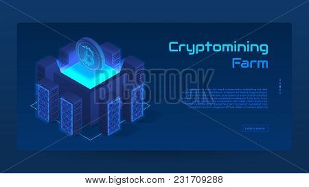Isometric Cryptomining Farm Concept Banner. Modern Concept Of Digital Crypto Mining Technology. Vect