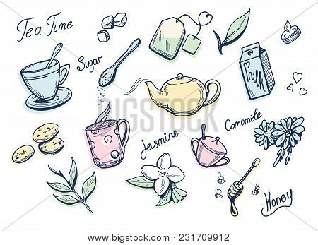 Vector Illustration Of A Sweet Tea Related Doodle Drawings With Tender Colorful Underlays. Cup, Bag,