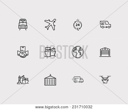 Cargo Icons Set With Delivery Ship, Delivery Hours And Warehouse. Set Of Cargo Icons Also Including
