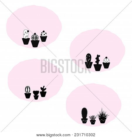 Set Of 4 Vector Patches With Potted Succulent Plants On Pink Background, Use It For Patches, Sticker