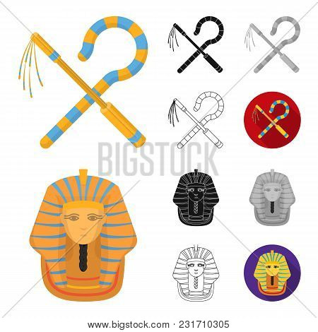 Ancient Egypt Cartoon, Black, Flat, Monochrome, Outline Icons In Set Collection For Design. The Reig