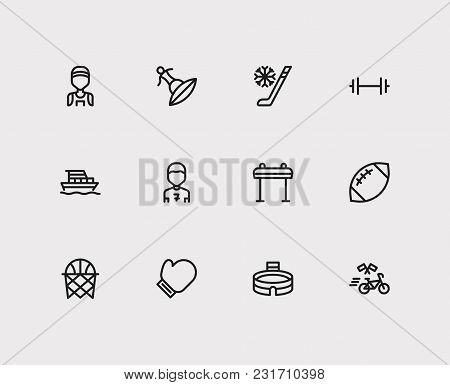 Lifestyle Icons Set With Yacht, Basketball And Football Player. Set Of Lifestyle Icons Also Includin