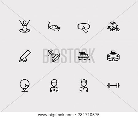 Activity Icons Set With Gym, Scuba Diving And Yoga. Set Of Activity Icons Also Including Boat Sign F