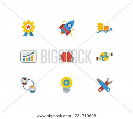 Technology Cooperation Icons Set With Achievement, Finance And Creativity. Set Of Technology Coopera
