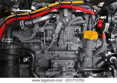 Detail Photo Of Black Car Engine Under The Hood