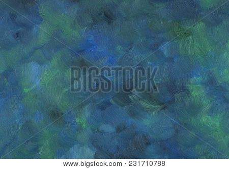 Big Overlapping Brushstrokes Of Oil Painting Texture For Background. Spring Night Sky Palette In Dee