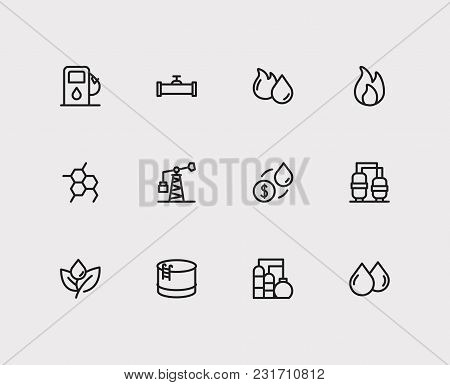 Petrol Icons Set With Oil Industry Market, Oil Gas Fossil And Oil Pump Station. Set Of Petrol Icons