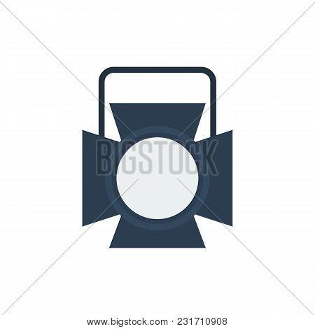 Theater Spotlight Icon Flat Symbol. Isolated Vector Illustration Of Studio Light Sign Concept For Yo