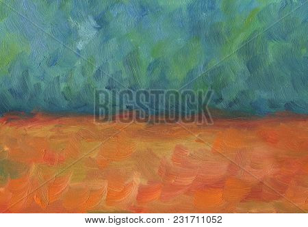Big Overlapping Brushstrokes Of Oil Painting Texture For Background. Spring Series. Two Fields Of De