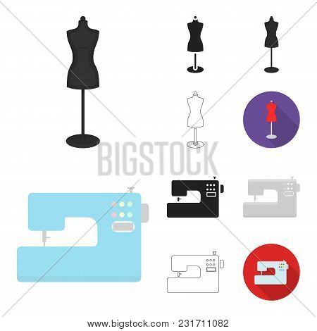 Atelier And Sewing Cartoon, Black, Flat, Monochrome, Outline Icons In Set Collection For Design. Equ