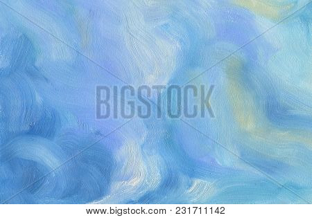 Big Overlapping Brushstrokes Of Oil Painting Texture For Background. Spring Sky Palette In Light Blu