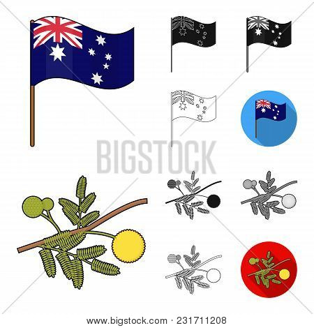 Country Australia Cartoon, Black, Flat, Monochrome, Outline Icons In Set Collection For Design.trave