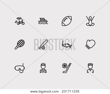 Activity Icons Set With Yoga, Winter Sport And Tennis Player. Set Of Activity Icons Also Including J