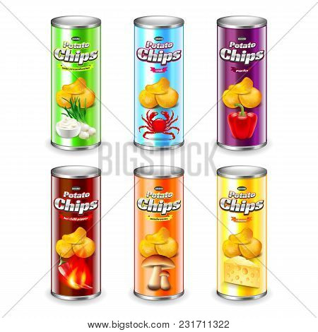 Potato Chips Tube Packaging Six Flavors 3d Realistic Vector Set