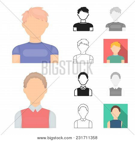Avatar And Face Cartoon, Black, Flat, Monochrome, Outline Icons In Set Collection For Design. A Pers