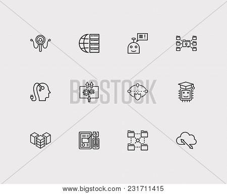 Digital Technology Icons Set With Big Data, Ai Robot And Data Visualization. Set Of Digital Technolo