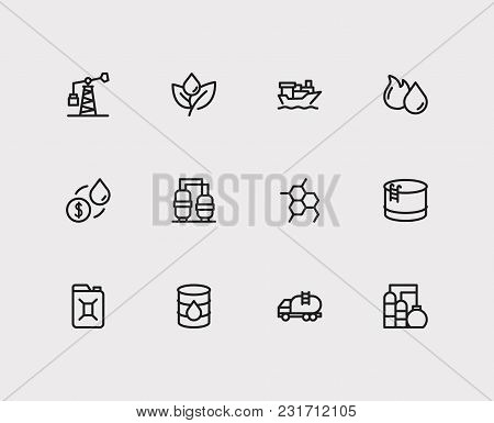 Energy Icons Set With Tanker Ship, Oil Barrel And Canister. Set Of Energy Icons Also Including Petro