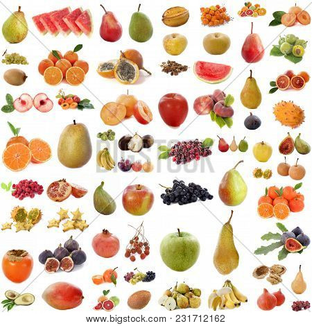 Group Of Fruits In Front Of White Background