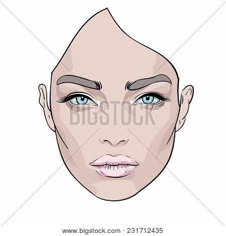 A Beautiful Woman S Face. Creative. Fashion Portrait. Vector.