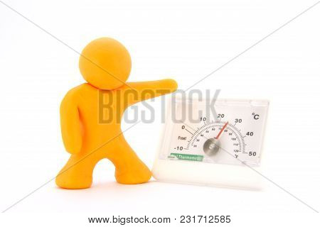 Orange Plasticine Characters And Thermometer. Isolated On White Background