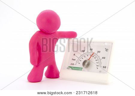 Pink Plasticine Characters And Thermometer. Isolated On White Background