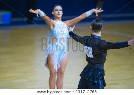 Minsk-belarus, March 11, 2018: Dance Couple Of Artem Poznyakov And Tatiana Potapova Performs Adult L