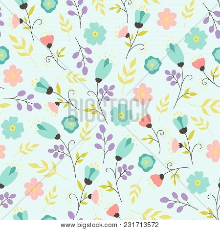 Vector Hand-drawn Pastel Floral Seamless Pattern. Tender Background With Flowers, Leaves, Berries