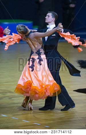 Minsk-belarus, March 11, 2018: Dance Couple Of Ilia Shvaunov And Anna Sneguir Performs Youth Standar
