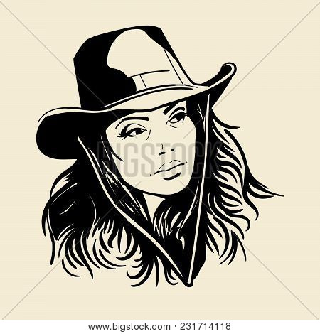 Woman Face With A Cowboy Hat. Black And White Vector. Illustration.