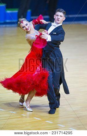 Minsk-belarus, March 11, 2018: Dance Couple Of Michail Maidanyuk And Olga Shimanskaya Performs Youth